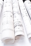 Heap of design and project drawings on table Royalty Free Stock Images