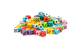 Heap of dice Stock Photo
