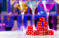 Heap of dices on the bar table Stock Image