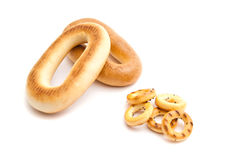Heap of different bagels on white. Background closeup Stock Photography