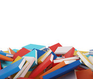 A heap of different books with colorful covers which are laying on the floor. Royalty Free Stock Images