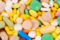 Heap of  different colours pills Royalty Free Stock Image