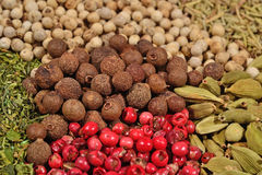 Heap of different dry spices Stock Image