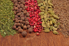 Heap of different dry spices Royalty Free Stock Photo