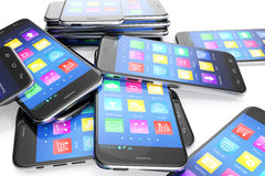 Heap of the different smartphones with application on the screen. Modern technology concept background, 3d illustration Stock Photo