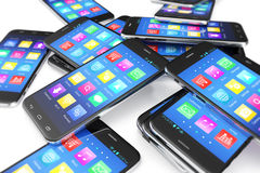 Heap of the different smartphones with application on the screen. Modern technology concept background, 3d illustration Royalty Free Stock Photo