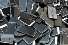 Heap of different smartphones. Mobile phone technology concept b. Ackground. 3d illustration royalty free illustration