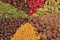 Heap of different spices Stock Photo