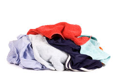 Heap of dirty linen isolated on white Stock Photos