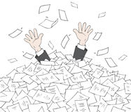 In heap of documents. The hands of a clerk stick up from a big heap of documents royalty free illustration
