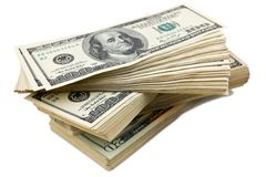Heap of a dollar banknotes Royalty Free Stock Photos