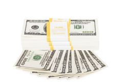 Heap of a dollar banknotes Stock Image