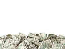 Heap of 100 Dollar Bills on white background stock image