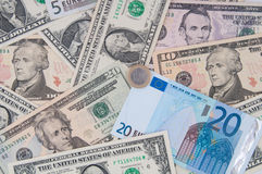 Heap of dollars and euro, money background. Сurrency Royalty Free Stock Photos