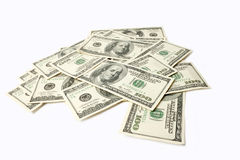 Heap of Dollars isolated on white background with place for your Stock Images