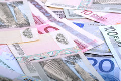 Heap from dollars, the Russian rubles and euro Stock Photos