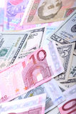 Heap from dollars, the ukrainian money and euro Stock Photos