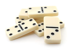 Heap from dominoes on white background Stock Photography