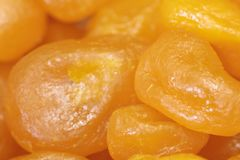 Heap of dried apricots close-up Royalty Free Stock Photo