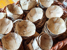Heap of dried banana leave vessel stock photography