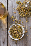 Heap of dried Camomile stock images