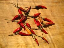 Heap of Dried Chili Peppers Stock Photos