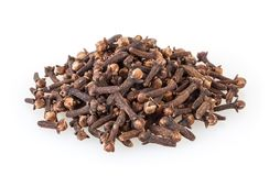 Heap of dried cloves isolated on white Stock Photography