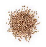 Heap of dried coriander seeds isolated on white stock images