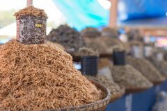 Heap of dried fishes on sell Royalty Free Stock Images
