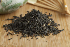 Heap of dried green tea Stock Image