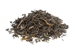 Heap of dried green tea Stock Photo