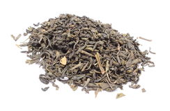 Heap of dried green tea on white background Royalty Free Stock Image