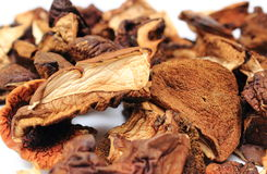 Heap of dried mushrooms on white background Stock Photo