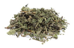 Heap of dried nettle on white background royalty free stock image