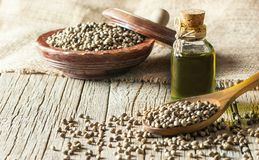 Heap of dried organic hemp seeds or cannabis plant seeds in spoon and bowl with glass of hemp seed oil. On wooden backdrop. cannabis herb concept. hemp seed royalty free stock image