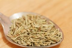 Heap of dried rosemary on a wooden background Royalty Free Stock Photography