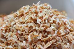 Heap of dried salted prawn, dried shrimp are shrimp that have been sun-drie. Royalty Free Stock Photography