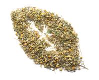 Heap of dry camomile tea on white background royalty free stock image