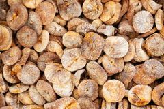 Heap of dry figs as background. Stock Photo