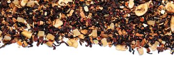 Heap of dry hibiscus tea leaves with fruits on white background stock images