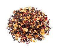 Heap of dry hibiscus tea leaves with fruits on white background stock photography