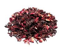 Heap of dry hibiscus tea on white background royalty free stock images