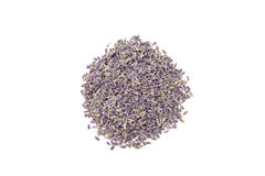 Heap of dry lavender tea, isolated on white background, top view. Heap of dry lavender tea, isolated on a white background, top view royalty free stock photos