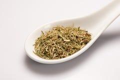 Heap of dry medical herbal tea in white ceramic spoon Royalty Free Stock Image