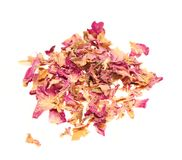 Heap of dry rose leaves on white background. Heap of dry rose leaves isolated on white background Stock Photography