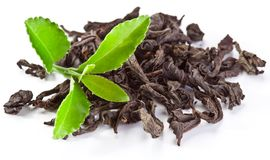 Heap of dry tea with green tea leaves. Heap of dry tea with green tea leaves isolated on a white background Stock Photo