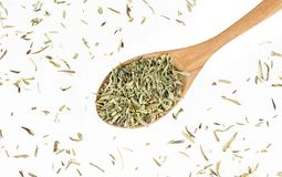 Heap of Dry thyme in wooden spoon isolated on white background. Dried spice concept royalty free stock photography