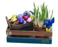 Heap of easter eggs in pot Stock Photos