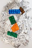 Heap of empty assorted various medicine tablets pills blisters d Royalty Free Stock Photos