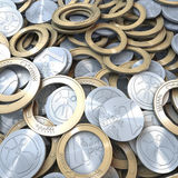 Heap of Euro coins broken to pieces. Pool, Heap of Euro coins broken to pieces, parts, 3d rendering stock illustration